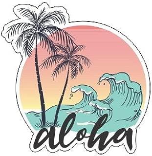 JS Artworks Aloha Palm Tree Waves Vinyl Bumper Sticker Decal Ocean Hawaiian