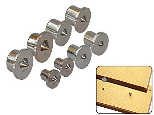 8-tlg. Set Holzdübel-Zentrierspitzen 6-12 mm Dübelmitte Markierspitzen verchromt