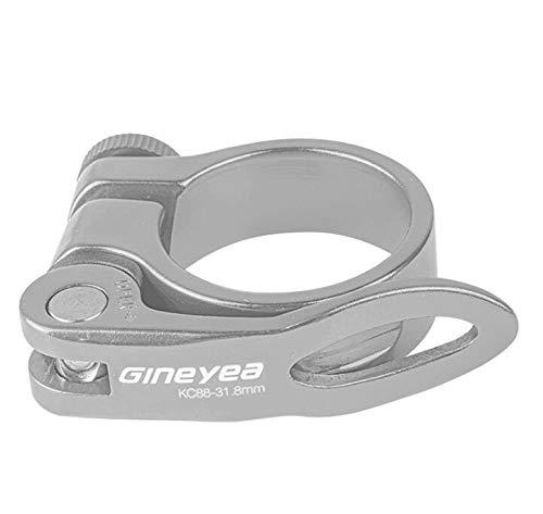 Cierre de sillín o abrazadera para tija de sillín de bicicleta con palanca de liberación rápida para bicicleta de montaña (MTB) o carretera de 31,8 mm (plata)