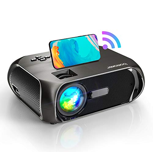 BOMAKER Proiettore WiFi Portatile 6500 Lumens, Mini Proiettore Supporta Nativo Full HD 1080p HDMI AV USB VGA AUX, Compatibile Android iOS Windows Mac, Ideale per Home Cinema e Film All aperto
