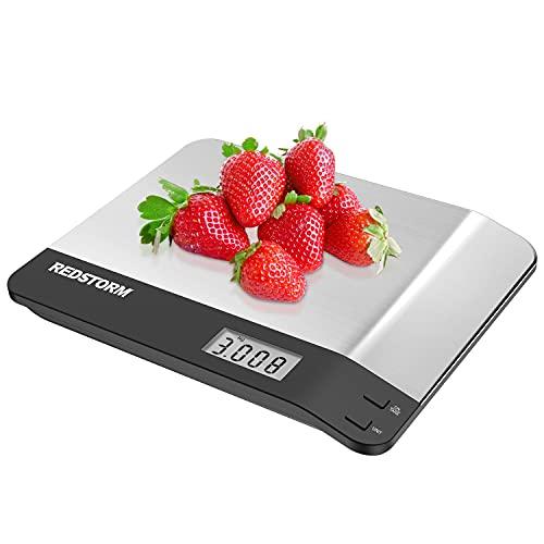 REDSTORM Bilancia da Cucina Digitale con Funzione Tare 6kg/13lbs Bilancia Alimenti Professionale Alta Precisione Smart Bilancia Elettronica da cucina con Display LCD