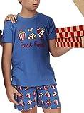 ADMAS - Pijama Niño Verano Algodón Comida Rápida niños Color: Azul Talla: 6