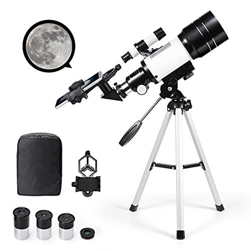 Telescopio Astronomico Zoom 150X HD Educational Science Rifrattore Monoculare Telescopio Spotting con Treppiede 300 70 mm per bambini principianti - Uverbon