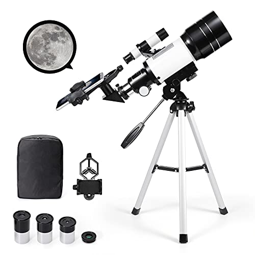 Telescopio astronómico zoom 150X HD educativo ciencia refractor monocular telescopio espacial con trípode 300/70mm Spotting Alcance para niños principiantes - Uverbon