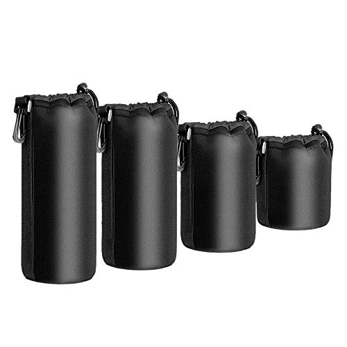 Dasing 4PCS Camera Case Lens Pouch Set Lens Case Small Medium Large and Extra Large for DSLR Camera Lens Bag Pouch Shockproof