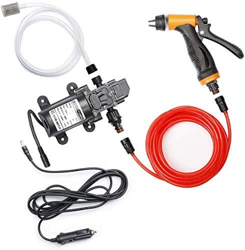 CarBole Elektrische Autowaschpumpe Hochdruckreiniger 12V 100W Tragbarer selbstansaugender Autowäscher Auto Reinigungswasserpumpe