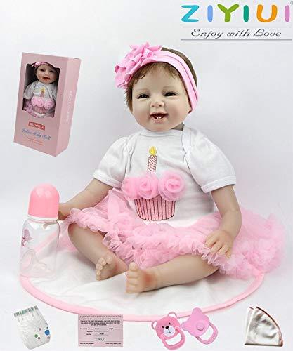ZIYIUI Reborn Muñecas 22 Pulgadas (55 cm) Vinilo Suave Silicio Muñecos Bebes Niña Realistas Ojos Abiertos Reborn Dolls
