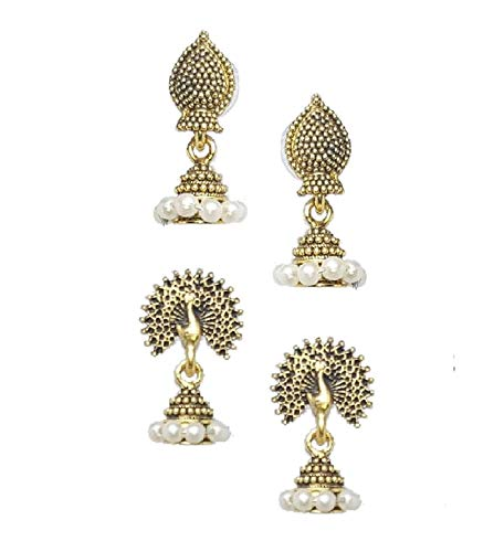 Indian Crafty Vibes Peacock Jhumki Small Faux Pearl Traditional Jhumka For Women-Golden- Brass (Golden)