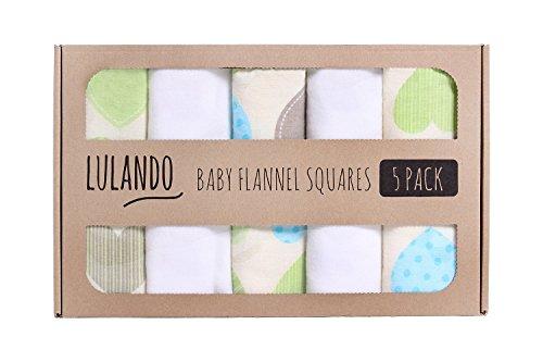 LULANDO Stoffwindeln und Moltontücher 70x80cm (5er Set). Waschbare Windeln und Spucktücher für Ihr Baby. Farbe: Herzen Grün/Weiß
