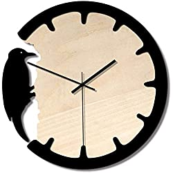 Fashion Classic Wall Clocks for Home and Office Stylish classic wall clock modern wall clock woodpecker non-tick battery operated home office clock D & eacute; cor home office decoration (color: black