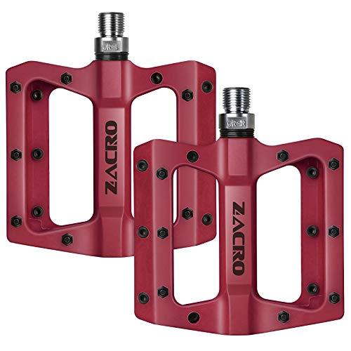Zacro Pedales de bicicleta, nuevo tejido de nailon antideslizante duradero para bicicleta de montaña de 9/16 pulgadas, husillo de acero Cr-Mo, adecuado para BMX, MTB y otras bicicletas, color rojo