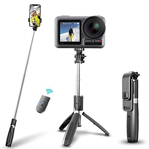 Ohiyoo Bastone Selfie Treppiede, Selfie Stick Monopiede, Mini Estensibile 3 in 1 Selfie Stick, Treppiede con Bluetooth Remote Shutter per Smartphone/Huawei e Altri Android e iOS.