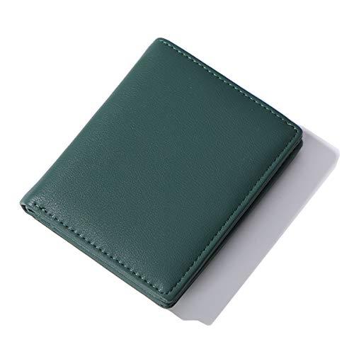 AnnabelZ Women Wallets Small Bifold Leather Pocket Wallet Ladies Mini Short Purse (Dark Green)