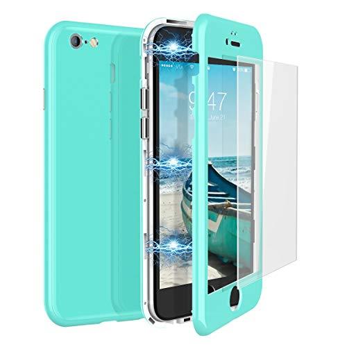 CE-Link Funda iPhone 6 Funda iPhone 6s y Cristal Templado iPhone 6 / iPhone 6s Carcasa Fundas para iPhone 6 / iPhone 6s 360 Grados 3 en 1 Magnética Macaron Case Protectora - Verde