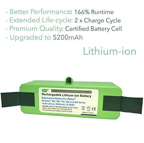 IRICO iRobot Roomba Replacement Battery Lithium 5200mAh for Roomba 500 600 700 800 900 Series | iRobot Roomba Battery Replacement 980 960 890 880 870 860 850 805 790 780 770 690 655 650 645 595 580