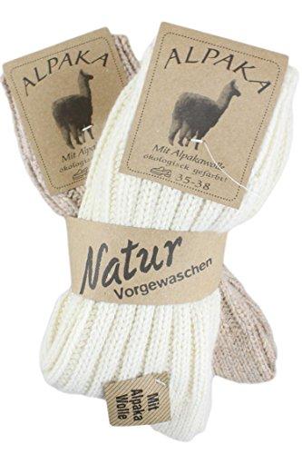 Sonia Originelli 2 Paar Alpakasocke Dick Winter Warm Schaf Wolle Farbe Natur, Größe 39-42