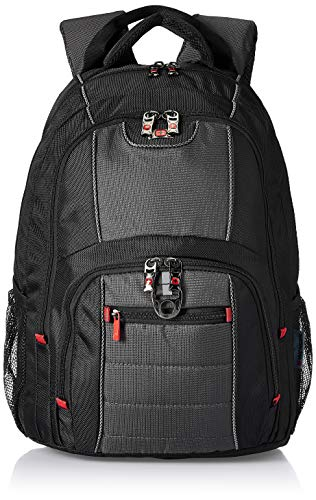 Wenger 600633 PILLAR 16 Inch Laptop Backpack, Triple Protect Compartment with Case-Stabilising Platform in Black/Grey {25 Litre}