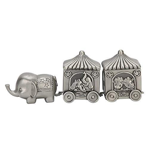 Caja de dientes de bebé Elefante de metal Forma de coche Caja de joyería Caja de colección de dientes Adorno de regalo de artesanía exquisita