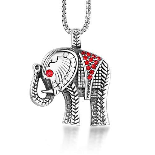 WYHCJJ Colgante de joyería Collar Collar de Elefante bebé de Diamantes Dios de la Riqueza Collar con Colgante de rubí Cadena de suéter Regalos de cumpleaños de joyería de Navidad