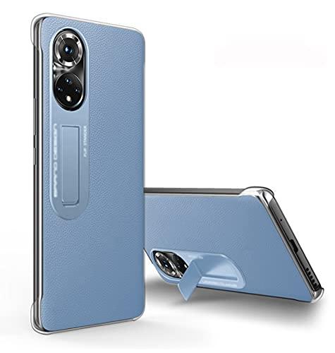 LONGSAND Compatible con la Cubierta Protectora Huawei P50 / P50 PR para para Mujer para Mujer Moderna Caja del teléfono Simple con la Cubierta Trasera a Prueba de Golpes de Kickstand,Azul,P50 Pro