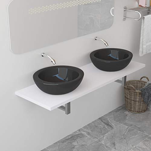 UnfadeMemory Waschtischplatte Waschtischkonsole aus Spanplatten + Metall Waschtisch-Wandregal Waschtisch Badezimmer-Wandregal für Waschbecken, Regalstärke 25 mm (160 x 40 x 16,3 cm, Weiß)