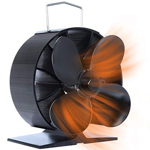 Sazuik ストーブファン 40℃回転 エコファン 4つブレード 暖炉ファン 電源不要 低騒音 省エネ 空気循環 火力...