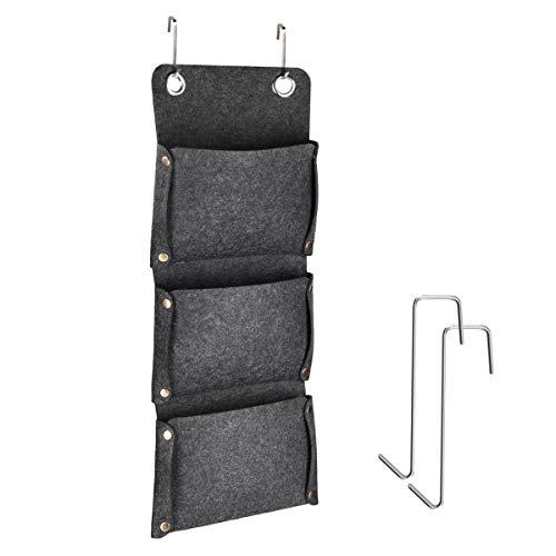 Navaris Hängeregal Ordnungssystem Aufbewahrung Hängeorganizer - ohne Montage oder Bohrung - passend für Jede reguläre Tür - aus Polyester Filz