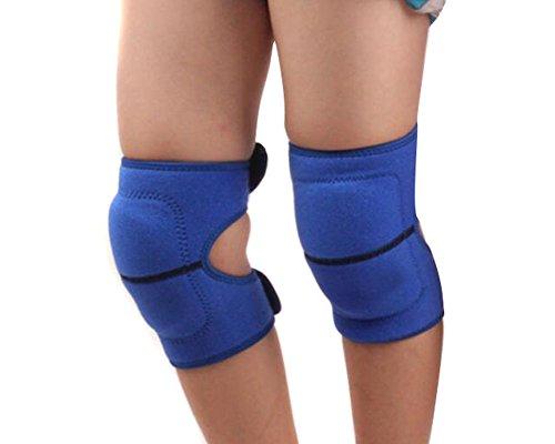 Rodilleras con almohadillas de protección, elásticas, gruesas, para niños; para uso en bailes, voleibol, deportes, etc., azul