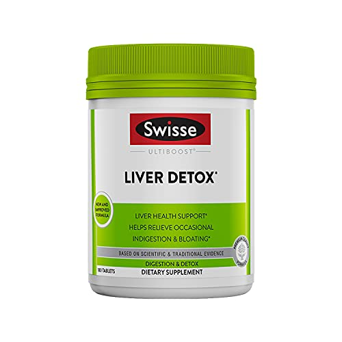 Swisse Liver Cleanse & Detox Supplement | Formula Supports & Repairs Liver Health & Function | Relief for Indigestion & Bloating | Milk Thistle, Artichoke & Turmeric | 180 Tablets