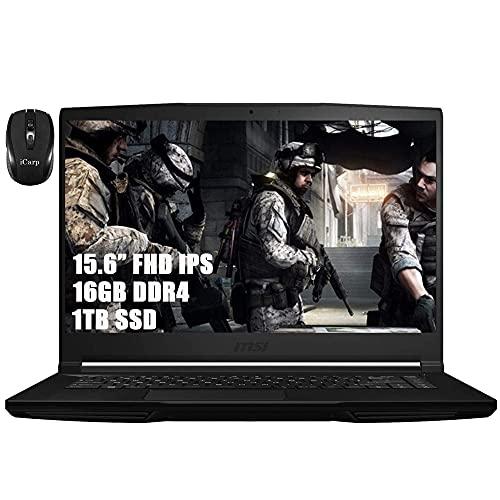 MSI GF63 Thin and Light Flagship Gaming Laptop Computer 15.6' FHD IPS Display Intel Quad-Core i5-9300H (i7-7700HQ) 16GB DDR4 1TB SSD 4GB GTX 1650 Max-Q HDMI WiFi Webcam Win 10 + iCarp Wireless Mouse