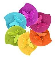 Bunt: 6verschiedene Farbe Schmetterling Cup Deckel, Butterfly ist abnehmbar und Sie kann DIY rückkampf Sie sie wie sie möchten. Dimension: 12,5* 10,5cm/12,4x 10,4cm; Temperatur:-40~ 300F Gesunde Material: aus BPA-Lebensmittelqualität Silikon, ...
