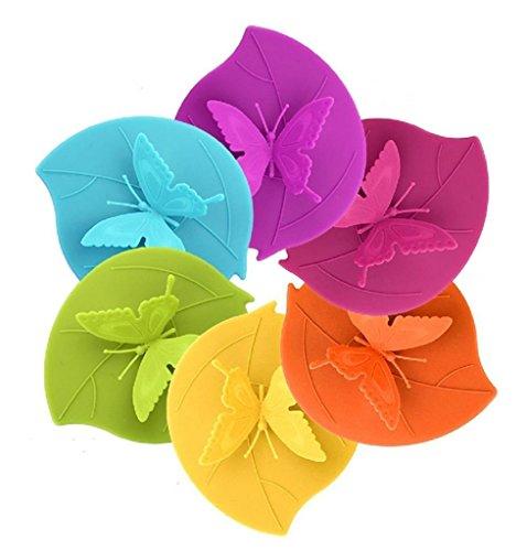 CREATESTAR Schmetterling Anti-Staub luftdichten Silikon Tasse Cover Deckel 6 Set