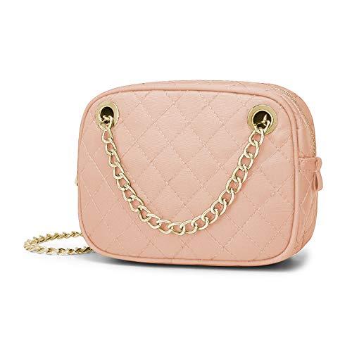 Wind Took bolsos bandolera mujer bolso hombro bolso de moda impermeable bolso de fiesta pequeno bolso de mensajero de cadena 17 x 6 x 12.5 CM rosa