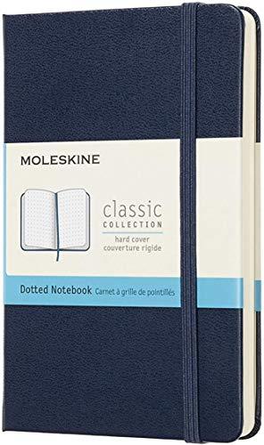 Moleskine Classic Notebook, Taccuino con Pagine Puntinate, Copertina Rigida e Chiusura ad Elastico, Formato Pocket 9 x 14 cm, Colore Blu Zaffiro, 192 Pagine