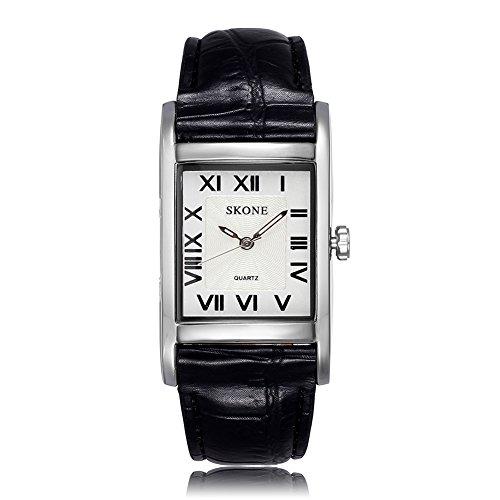 SKONE Frauen Schwarz Leder Band Rom Zahlen Quarz Uhren Silber Rechteck Fall Weiß Zifferblatt 505801