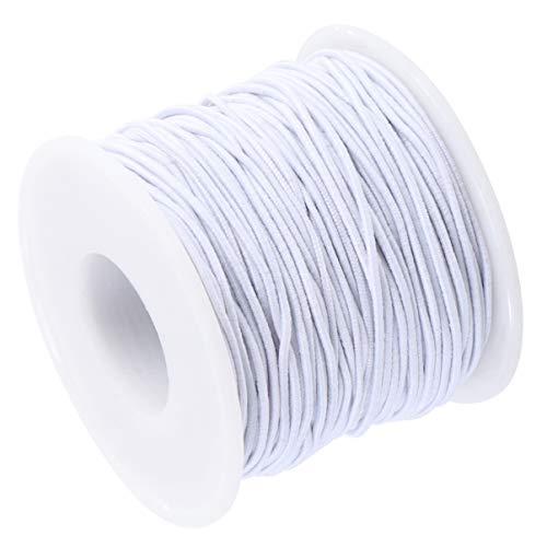 HEALLILY 1 Rolle 50M Elastische Schnur Schnur Dehnbares Armband Perlenfaden Stoffschnur Handwerk Gummiband für DIY Schmuck Herstellung Armbänder Kleidung (Weiß)