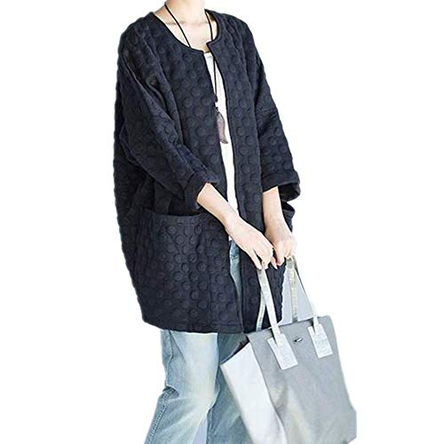 NOBRAND - Abrigo coreano para mujer, talla extragrande, suelto, diseño de lunares, chaqueta de punto de primavera, chaqueta de punto para mujer