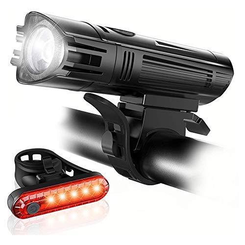 Mozusa Recargable bicicleta conjunto USB ligeros, potentes bicicletas Faros y luces de cola traseras, 4 modos de luz, fácil de instalar, conveniente for los hombres, mujeres, niños, bicicletas de carr