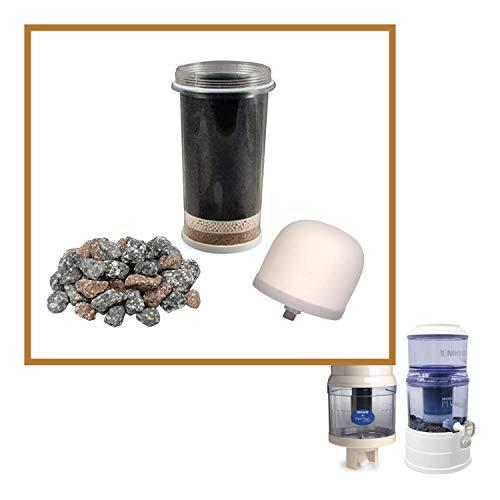 Nikken Aqua Pour Bundle Replacement for Gravity Water Filter Purifier System 1360-1 piece Filter Cartridge 1361 + 1 piece Ceramic Pre-Filter 1364 + 1 piece Mineral Stones 1386 - Water System