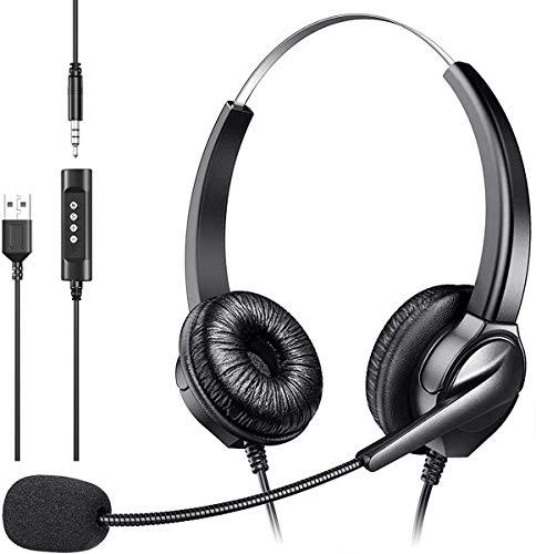 Auriculares - USB Auriculares 3.5MM con Microfono, Sonido Estéreo y Micrófono USB con Supresión de Ruido, Controles Integrados en el Cable, PC/Mac/Portátil