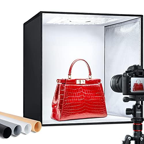 ESDDI Lightbox Fotografico 50x50x50 cm Set Fotografico Portatile con 5500K-6000K LED Dimmerabile,Photo Studio Box con 4 Colori di Panno in PVC,Shooting Tenda Fotografico Scatola Kit di Professionale