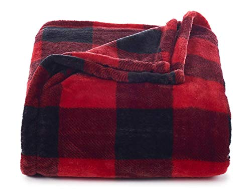Throw Blanket Plush Super Soft and Cozy Oversized 60 x 72 (Red Buffalo Check)