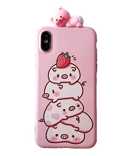 UnnFiko Ferkel iPhone Schutzhülle, kompatibel mit iPhone 7 Plus/iPhone 8 Plus, süßes 3D-Cartoon-Tier, weiche Silikon-Schutzhülle für Mädchen Frauen, iPhone 6/6s, Strawberry Piglet