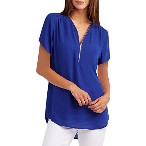 Blusas Mujer Verano 2019 Camisetas de Gasa Ropa de Mujer Tallas Grandes Camisas Manga Ajustable Blusas con Cremallera Tops Suelto S - XXXXXL POLP