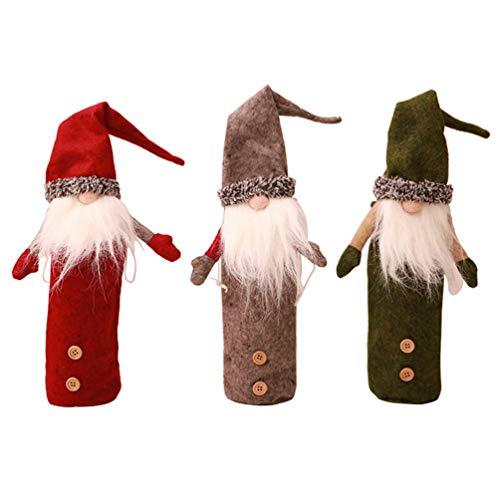 LaoZan Flaschendeko Weihnachten Weinflasche Taschen Flaschebeutel Weihnachten Weinflasche Cover Set (Stil1(3Pcs), 26 * 13cm(Weinflasche Cover))