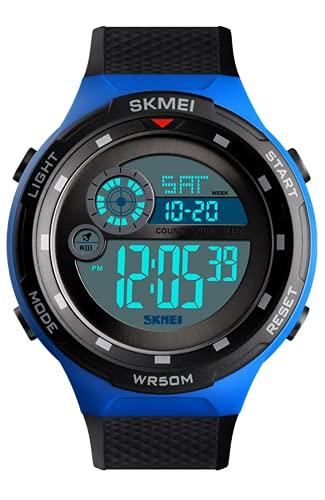 Reloj Digital Niños, 50M Impermeable Relojes de Pulsera de Grande para Niños Adolescentes, Relojes Deportivos para Hombre Negro con LED/Alarma/Temporizador/Cronómetro