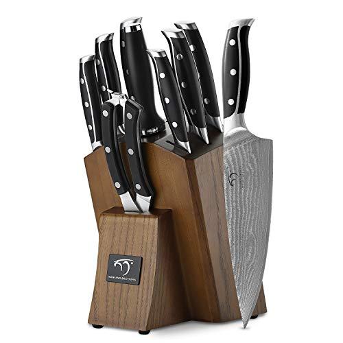NANFANG BROTHERS 9er Küchenmesserset Schärfen für Kochmesser Set mit Block, Damaskus Profi Messer Edelstahl Steakmesser für mit Holzgriff Küchenmesser Schärfer und Schere by