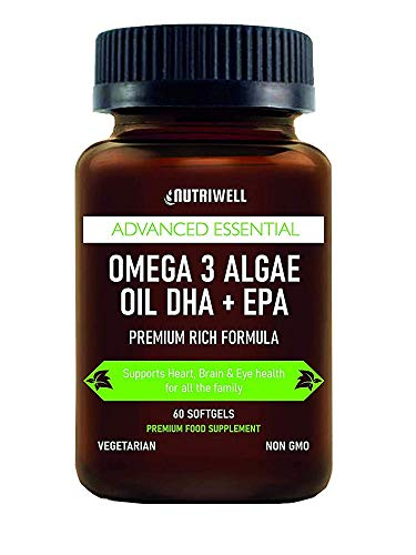 Vegan Omega 3 Rich Algae Oil – 60 Vegetarian Softgel Capsules – High Strength EPA + DHA Supplement, Non-GMO - Sustainable Plant Based Alternative to Fish Oils- Made in The UK by Nutri Well