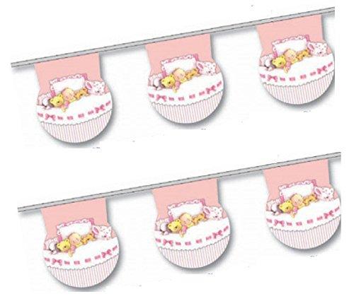 Banderines redondos para fiesta de nacimiento de niña con diseño de cuna rosa