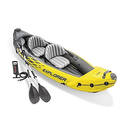 Vance Technology Aufblasbarer Kajak, Aufblasbarer Kayak Explorer K2 Wassersport Tragbare Fischerboot Doppelperson PVC Boot Kayaks 2 Sitze Pump Paddel